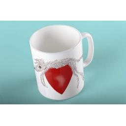 Hairy hound draped over heart 11 oz mug