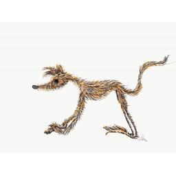 Hairy brindle hound standing or head - A5 blank card