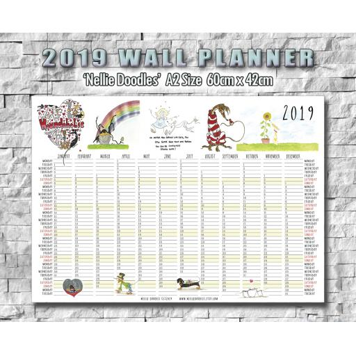 2019 Nellie Doodles A2 Wall Planner