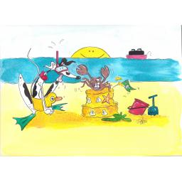 Nellie Doodles - A Day at the Seaside A4 print, A5/A6 blank card