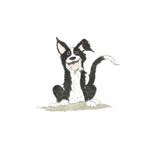 Cheeky collie A4 print, A5 or A6 blank card