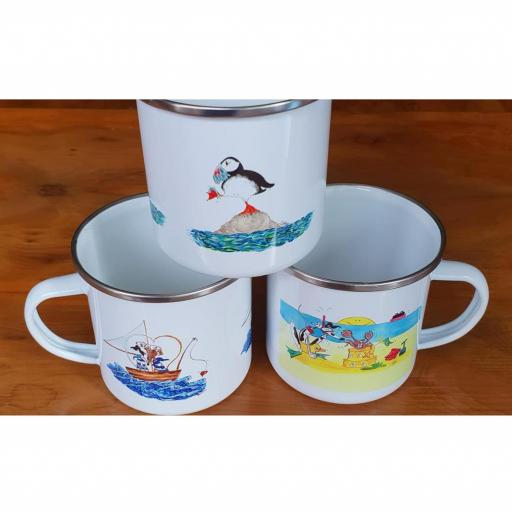 Nellie Doodles 10 oz Enamel Mugs - Seaside Theme