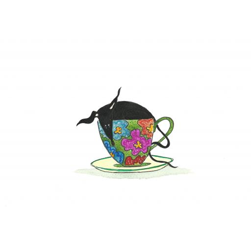Black hound in a teacup - A4 print, A5 or A6 blank card