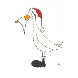Santa Duck - A4 print, A5 or A6 blank card